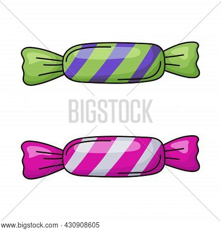 Vector Simple Isolated Illustration Of Two Candies In A Bright Shiny Striped Wrapper.