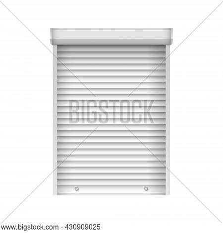 Horizontal Closed Window Blind. Realistic Plastic Jalousie. Vector Window Shutter Mockup For Interio
