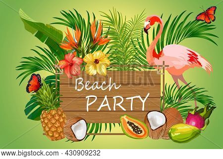 Vector Illustration With Flamingos And Fruits.tropical Fruits, Palm Leaves And Flamingos On A Colore