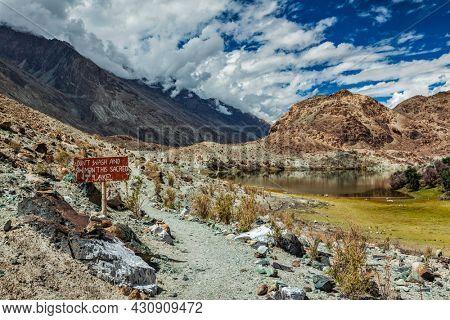 Lohan Tso mountain lake - sacred holy Tibetan buddhist buddhism piligrimage site. Nubra valley, Ladakh, India