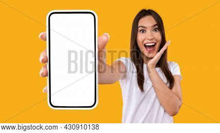 Excited Woman Showing White Empty Smartphone Screen