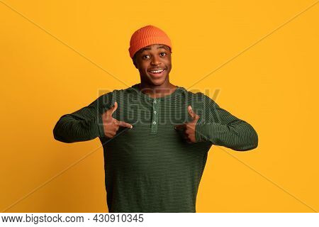 Choose Me. Joyful Black Young Guy Pointing At Himself With Two Hands