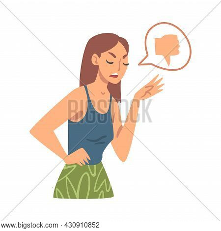 Young Angry Woman Character Expressing Discontent In Social Media With Thumb Down Vector Illustratio
