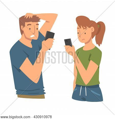 Sad Man And Woman With Smartphone Feeling Negative Emotion Suffering From Bullying In Social Media V