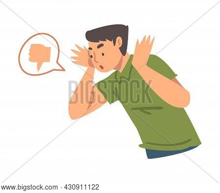 Young Angry Man Character Expressing Discontent In Social Media With Thumb Down Vector Illustration