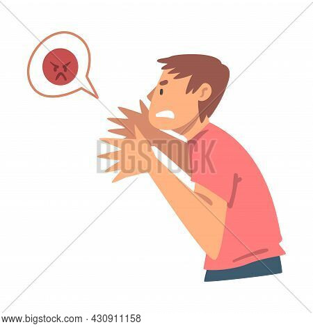 Young Angry Man Character Expressing Discontent In Social Media With Furious Face Vector Illustratio