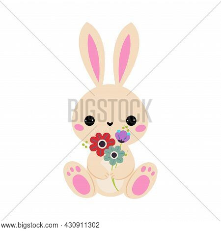 Cute Hare Animal Holding Flower On Stalk With Paws Vector Illustration