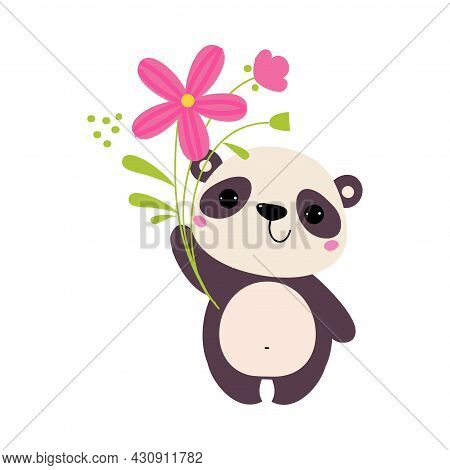 Cute Panda Bear Holding Flower On Green Stalk With Paws Vector Illustration