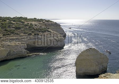 Aerial View Of The Rock Formations And The Atlantic Ocean In Carvoeiro, Lagoa, Algarve, Portugal