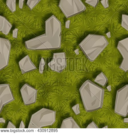 Grass Stone Seamless Pattern, Vector Rock Lawn Texture, Game Ground Square Tile, Green Moss. Nature