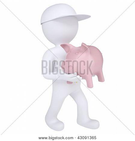 3d white man holding a piggy bank