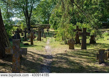 Pirita, Estonia - 6 August, 2021: Many Headstones Of Different Types In The Cemetery At The Pirita C