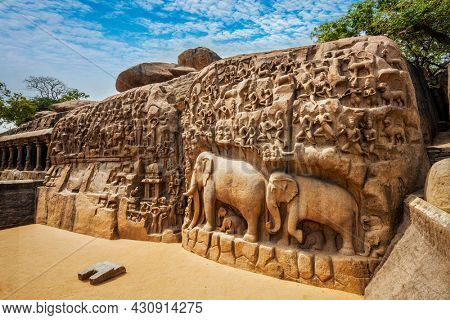 Descent of the Ganges and Arjuna's Penance ancient stone sculpture bas relief - monument at Mahabalipuram, Tamil Nadu, India
