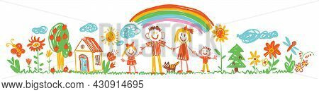 Children Scribbles. Funny Cartoon Character. Vector Illustration. Seamless Panorama. Isolated On Whi