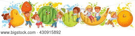 Small Children Holding Big Fruits. Cute Little Kids Having Fun And Playing With Big Fruits. Funny Ca
