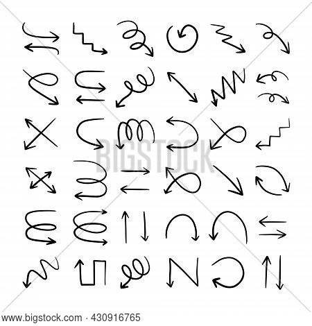 Set Of Different Hand Drawn Arrow Signs. Vector Design Elements , Hand Drawn Arrow Pointers Isolated