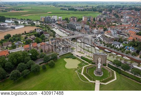 Diksmuide, Flanders, Belgium - August 3, 2021: Ijzertoren Domain. Aerial Landscape Showing Agricultu