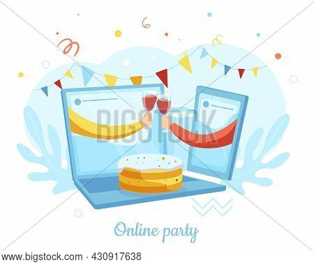 Two Hands From Laptop, Smartphone Clinking Glasses, Vector Illustration. Online Party, Friends Meeti