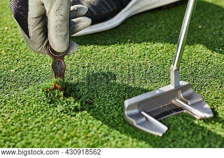 Golfer Properly Repair A Divot Mark On Putting Green Using Divot Tool. Ball Mark Repair Tool Or Divo