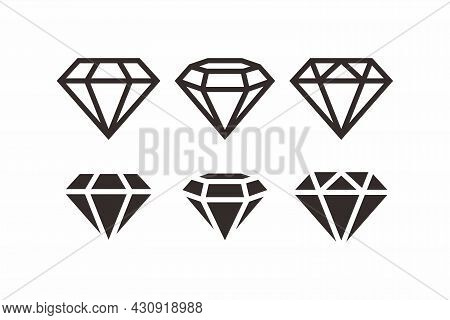 Set Of Simple Flat Black Diamond Icon Sign Illustration With Outlined Style Design, Silhouette Jewel