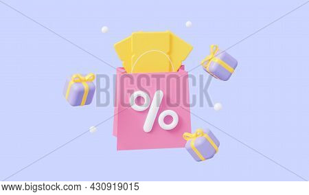 The Concept Of A Promo Code. A Coupon With Flying Gifts. For Promotion, Marketing And Advertising In