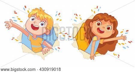 Children Look Through A Torn Paper Hole. Funny Cartoon Character. Vector Illustration. Isolated On W