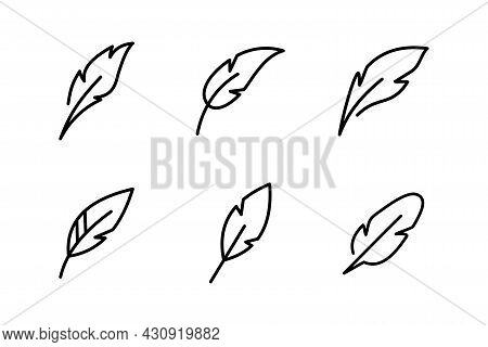 Set Of Simple Flat Feather Icon Illustration Design, Various Feather Symbol Collection  With Outline