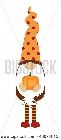 Adorable Gnome With Maple Leaf - Thanksgiving Gnome With Autumn Pumpkin. Nordic Magic Dwarf. Cute Ho