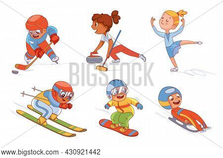 Winter Sports For Children Skiing. Figure Skating. Snowboarding. Luge. Curling. Ice Hockey . Colorfu