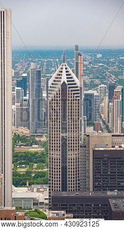 The High Rise Buildings Of Chicago From Above - Chicago, Illinois - June 11, 2019