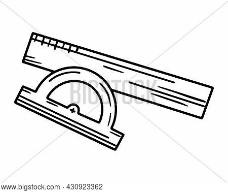 Linear Vector Icon Of The School Protractor And Ruler In Doodle Style