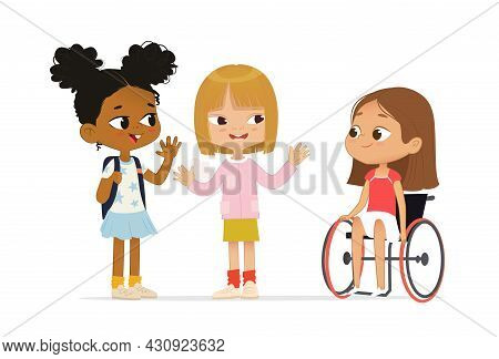 Multiracial Children Greeting Newcomer Girl In A Wheelchair. African American Girl With The Backpack