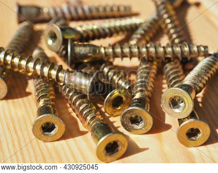 Hex Drive Confirmat Screws. Connector For Joining Parts Of Wooden Materials