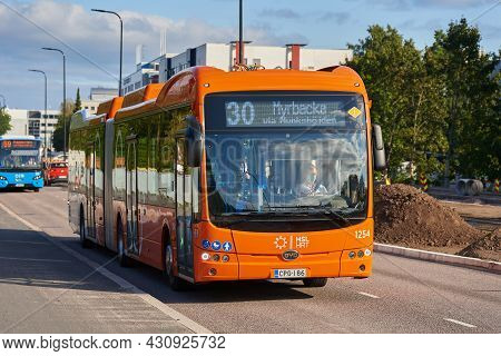 Helsinki, Finland - August 24, 2021: New Hsl Electric Articulated Bus Operated By Nobina On The Road