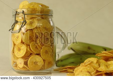 Fried Banana Chips Made By Deep Frying Under Ripe Banana Slices. A Main Item Of Vegetarian Onam Meal