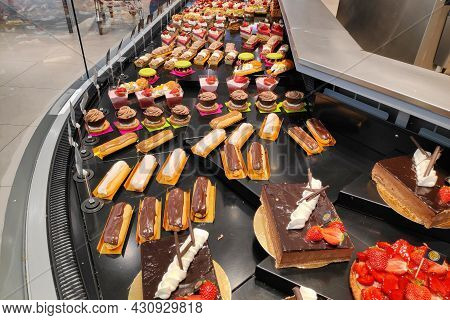 Morlaix, France - August 25 2021: Pastry Department In A Supermarket.
