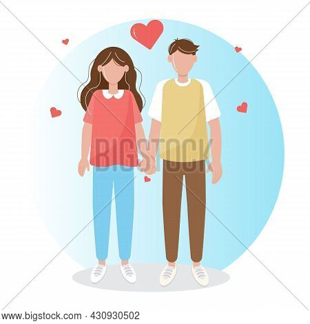 Loving Couple, Boyfriend And Girlfriend Holding Hands. Blue Background With Hearts. Can Be Used As A