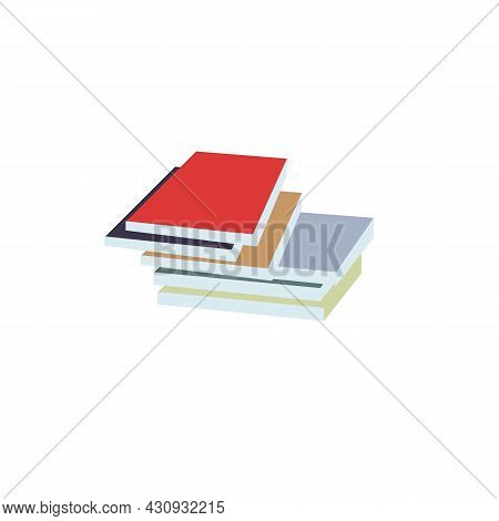 Vector Cartoon Flat Stack Of Books Or Textooks Isolated On Empty Background.literary Or Scientific P