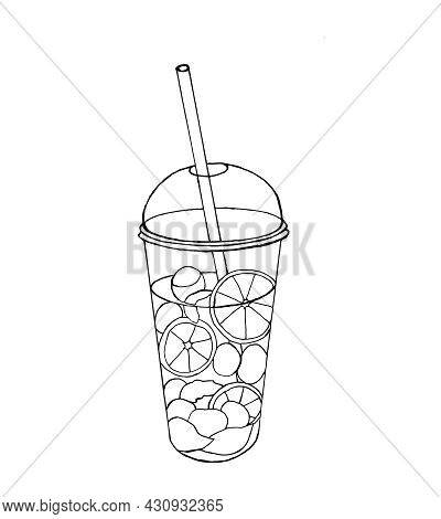 Plastic Cocktail Glass With Slices Of Orange, Lime, Ice And Straw. Tropical Lemonade, Isolated On A