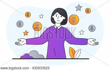 High Demand For Professional Specialists Concept. Smart Woman Surrounded By Gold Coins And Dollars.
