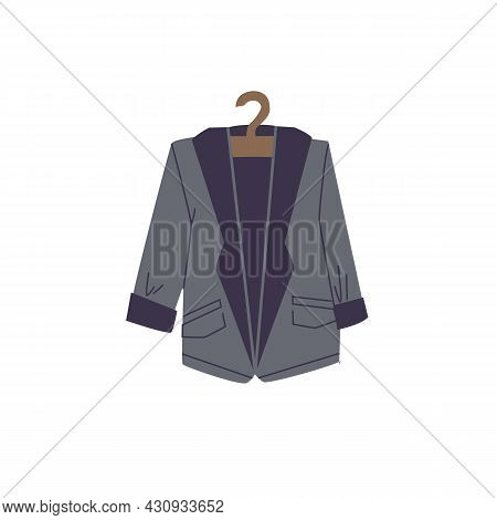 Vector Cartoon Flat Fashionable Blazer On Clothes Hanger.new Trendy Beautiful Apparel Isolated On Em