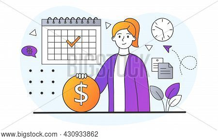 Salary Or Payroll Concept. Businesswoman Holds Gold Coin In Her Hands. Rejoice For Money Payment Ear
