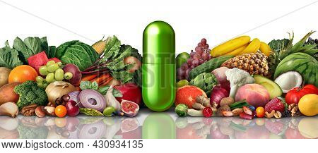 Natural Vitamin Nutrition And Supplements As A Capsule With Fruit Vegetables Nuts And Beans Inside A