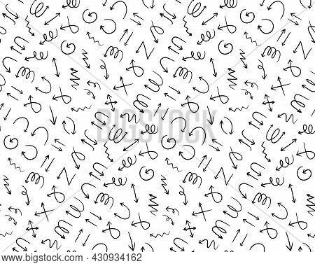 Seamless Pattern Background With Different Hand Drawn Arrow Signs. Black And White Arrow Pointers Ba