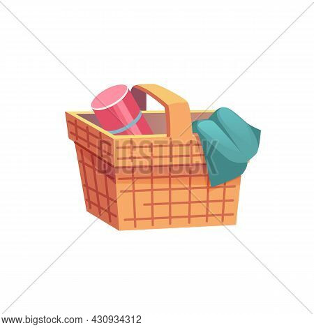 Vector Cartoon Flat Wicker Picnic Basket With Thermos And Blanket Isolated On Empty Background-summe