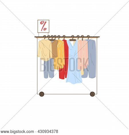 Vector Cartoon Flat Clothes Rack With Different Fashionable Outfit.dresses And Blazers At Discount P