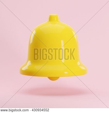3d Render Icon Of Yellow Notification Glossy Bell Isolated On Pastel Pink Background. Social Media N