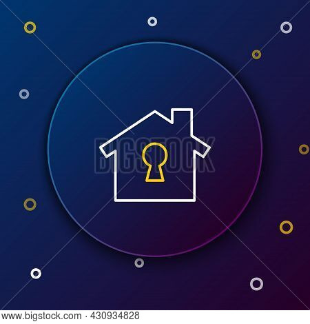 Line House Under Protection Icon Isolated On Blue Background. Home And Shield. Protection, Safety, S