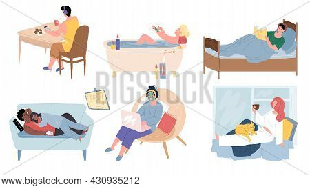 Set Of Vector Cartoon Characters Resting And Relaxing In Various Ways, Taking Bath, Watching Tv, Rea