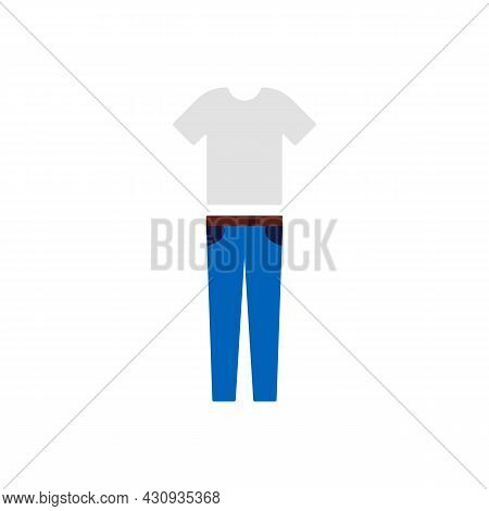 White T-shirt And Blue Jeans Icon. Fashion Clothing Store Concept. Trendy Flat Isolated Outline Symb